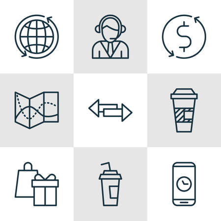 crossroad: Set Of Airport Icons On Crossroad, Operator And Money Trasnfer Topics. Editable Vector Illustration. Includes Phone, Arrows, Globe And More Vector Icons. Illustration