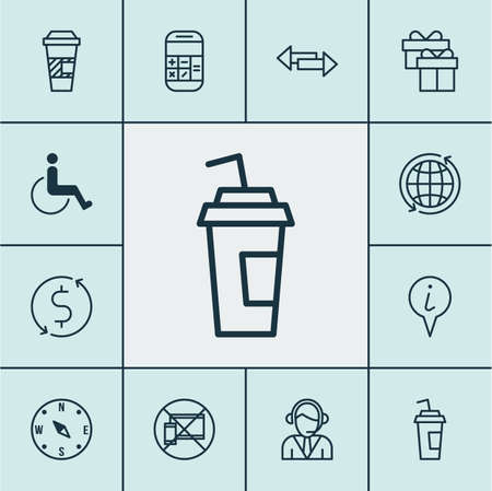 locate: Set Of Transportation Icons On Present, Takeaway Coffee And Locate Topics. Editable Vector Illustration. Includes World, Mobile, Info And More Vector Icons.