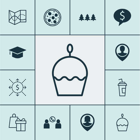 say cheese: Set Of 12 Universal Editable Icons. Can Be Used For Web, Mobile And App Design. Includes Icons Such As Pizza Meal, Holiday Ornament, Graduation And More.