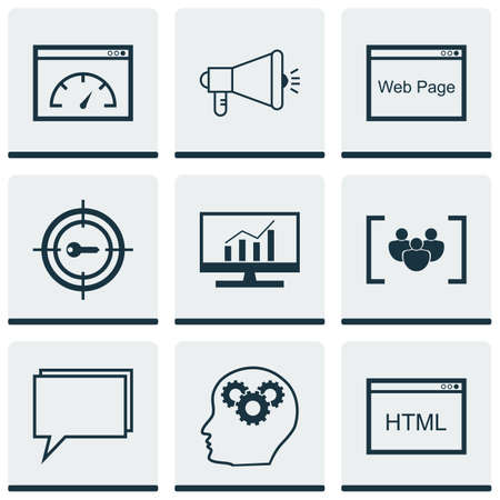 dynamic html: Set Of Advertising Icons On Coding, Media Campaign And Loading Speed Topics. Editable Vector Illustration. Includes HTML, Page, Performance And More Vector Icons.