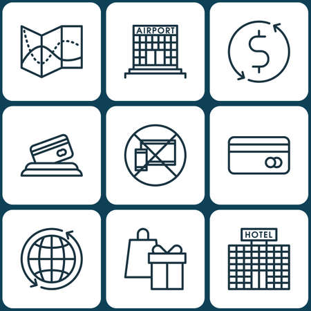 transact: Set Of Airport Icons On Plastic Card, Money Trasnfer And Forbidden Mobile Topics. Editable Vector Illustration. Includes Card, Travel, Office And More Vector Icons.