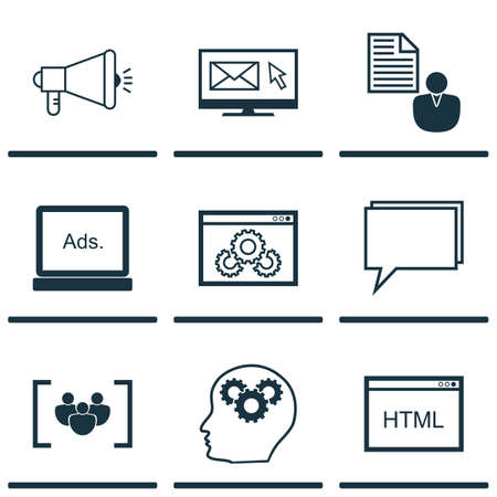 reporting: Set Of SEO Icons On Coding, Newsletter And Report Topics. Editable Vector Illustration. Includes Code, Brief, Community And More Vector Icons.