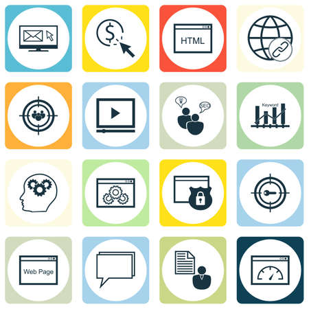 Ensemble d'icônes publicitaires sur le codage, le processus de cerveau et les sujets de performance du site Web. Illustration vectorielle modifiable Comprend Bulding, Click, Ranking et plusieurs icônes vectorielles.