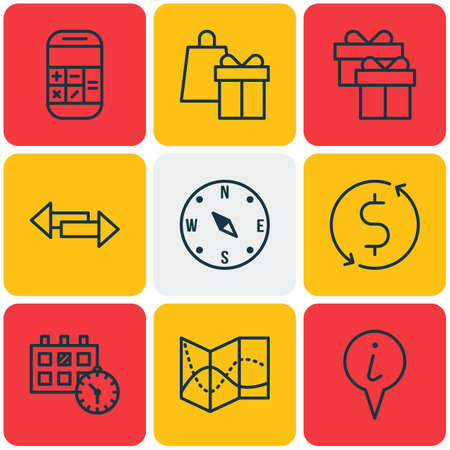 crossroad: Set Of Transportation Icons On Crossroad, Calculation And Present Topics. Editable Vector Illustration. Includes Calendar, Pointer, Holiday And More Vector Icons.