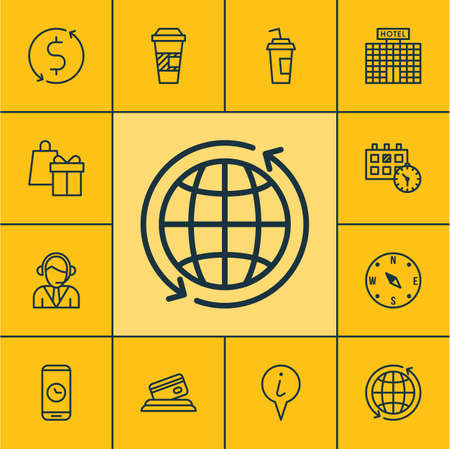duration: Set Of Transportation Icons On Locate, Call Duration And Operator Topics. Editable Vector Illustration. Includes Compass, Exchange, Pointer And More Vector Icons. Illustration
