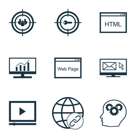 reporting: Set Of Advertising Icons On Market Research, Newsletter And Connectivity Topics. Editable Vector Illustration. Includes Analytics, Web, Marketing And More Vector Icons. Illustration