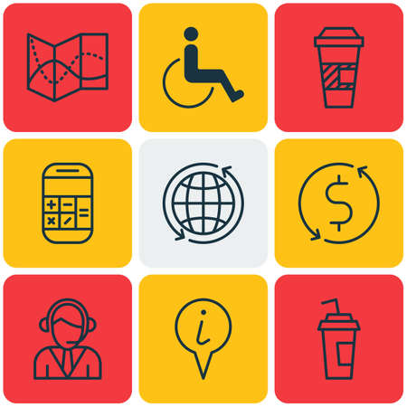 take charge: Set Of Airport Icons On Road Map, Calculation And Drink Cup Topics. Editable Vector Illustration. Includes Cup, Drink, Around And More Vector Icons.