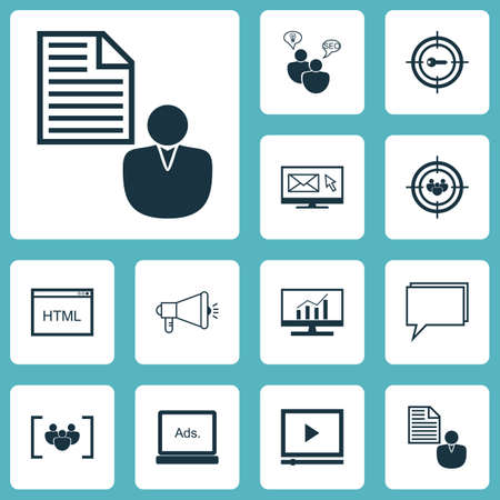 reporting: Set Of Advertising Icons On SEO Brainstorm, Video Player And Conference Topics. Editable Vector Illustration. Includes Businessman, Dynamics, Community And More Vector Icons. Illustration