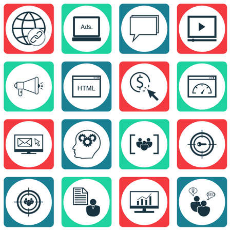 reporting: Set Of SEO Icons On Keyword Marketing, Connectivity And Conference Topics. Editable Vector Illustration. Includes Analytics, Video, Click And More Vector Icons.
