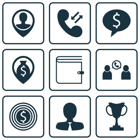 Set Of Management Icons On Manager, Business Deal And Employee Location Topics. Editable Vector Illustration. Includes Prize, Money, Employee And More Vector Icons. Illustration