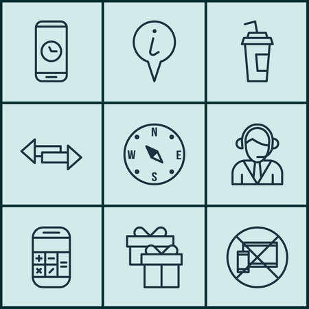 locate: Set Of Transportation Icons On Locate, Operator And Forbidden Mobile Topics. Editable Vector Illustration. Includes Box, Pointer, Compass And More Vector Icons.