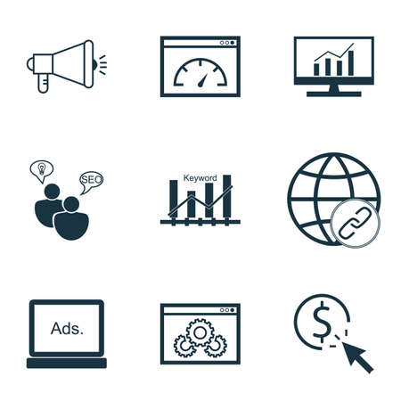 bulding: Set Of Marketing Icons On Media Campaign, SEO Brainstorm And Website Performance Topics. Editable Vector Illustration. Includes Bulding, Link, Matching And More Vector Icons.