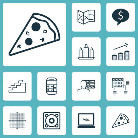 stock market quote: Set Of 12 Universal Editable Icons. Can Be Used For Web, Mobile And App Design. Includes Icons Such As Music, Road Map, Growth And More.