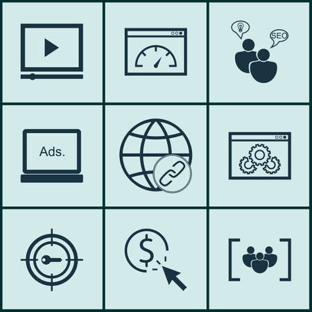 bulding: Set Of Advertising Icons On Questionnaire, Video Player And Loading Speed Topics. Editable Vector Illustration. Includes Bulding, Group, Click And More Vector Icons.