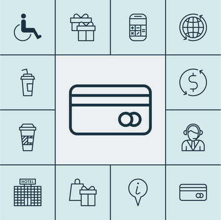 school bills: Set Of Airport Icons On Money Trasnfer, Plastic Card And Info Pointer Topics. Editable Vector Illustration. Includes Drink, World, Globe And More Vector Icons. Illustration