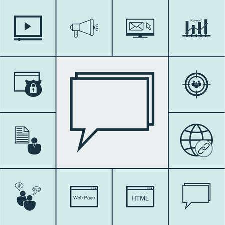 Ensemble d'icônes publicitaires sur groupe de discussion, lecteur vidéo et sujets de conférence. Illustration vectorielle modifiable. Comprend le code, la page, bref et plus d'icônes vectorielles.