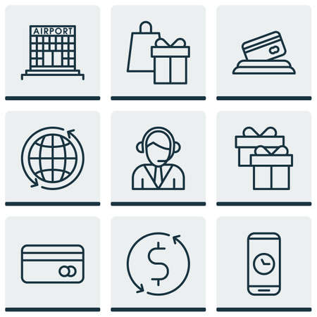 tour operator: Set Of Airport Icons On Present, Call Duration And Plastic Card Topics. Editable Vector Illustration. Includes Construction, World, Shopping And More Vector Icons.