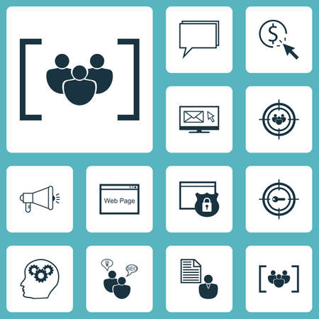 consumer society: Set Of Advertising Icons On Focus Group, Security And Media Campaign Topics. Editable Vector Illustration. Includes Protected, Email, Plan And More Vector Icons.