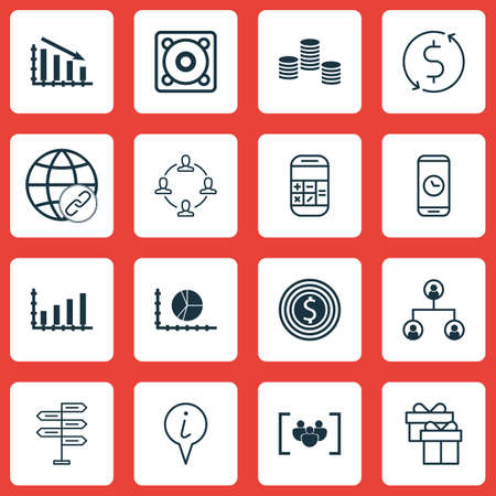 profit celebration: Set Of 16 Universal Editable Icons. Can Be Used For Web, Mobile And App Design. Includes Icons Such As Circle Graph, Present, Call Duration And More.