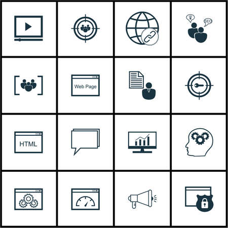 briefing: Set Of Marketing Icons On Conference, Connectivity And Video Player Topics. Editable Vector Illustration. Includes Online, Matching, Website And More Vector Icons.