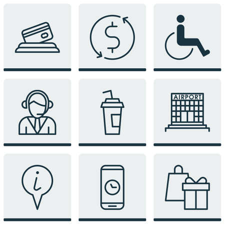 Set Of Airport Icons On Money Trasnfer, Airport Construction And Accessibility Topics. Editable Vector Illustration. Includes Call, Credit, Operator And More Vector Icons.