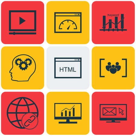 optimisation: Set Of Advertising Icons On Market Research, Keyword Optimisation And Brain Process Topics. Editable Vector Illustration. Includes Advertising, Newsletter, Web And More Vector Icons.