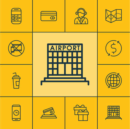 transact: Set Of Travel Icons On Present, Road Map And Money Trasnfer Topics. Editable Vector Illustration. Includes Airport, Device, No And More Vector Icons. Illustration