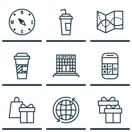 away travel: Set Of Traveling Icons On Airport Construction, Present And World Topics. Editable Vector Illustration. Includes Takeaway, Shopping, Cup And More Vector Icons. Illustration