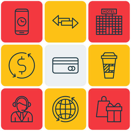 crossroad: Set Of Travel Icons On Money Trasnfer, Crossroad And World Topics. Editable Vector Illustration. Includes Building, Holiday, Center And More Vector Icons. Illustration