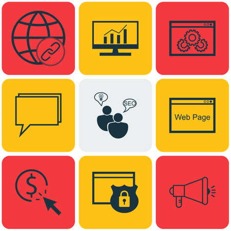 briefing: Set Of Marketing Icons On Market Research, Security And Media Campaign Topics. Editable Vector Illustration. Includes Analytics, Web, Viral And More Vector Icons.