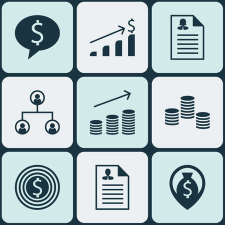 list of successful candidates: Set Of Management Icons On Coins Growth, Tree Structure And Business Deal Topics. Editable Vector Illustration. Includes Dollar, Goal, Organisation And More Vector Icons. Illustration