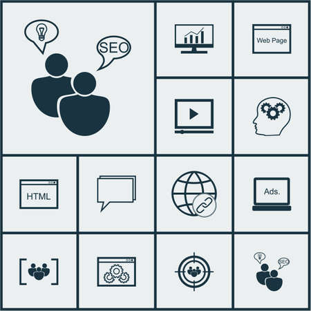 dynamic html: Set Of Marketing Icons On Video Player, Market Research And Focus Group Topics. Editable Vector Illustration. Includes Brain, Performance, Comprehensive And More Vector Icons. Illustration