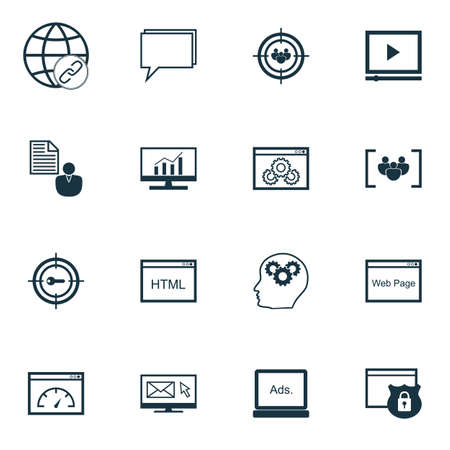 dynamic html: Set Of Marketing Icons On Market Research, Focus Group And Security Topics. Editable Vector Illustration. Includes Optimization, Businessman, Performance And More Vector Icons. Illustration