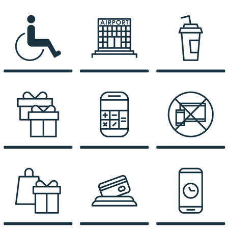 infirm: Set Of Traveling Icons On Credit Card, Shopping And Airport Construction Topics. Editable Vector Illustration. Includes Math, Airport, Disabled And More Vector Icons.