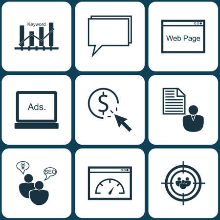 optimisation: Set Of Advertising Icons On Keyword Optimisation, Conference And Report Topics. Editable Vector Illustration. Includes Display, Target, Online And More Vector Icons.