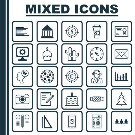 Set van 25 universele bewerkbare iconen. Kan worden gebruikt voor web-, mobiel- en app-ontwerp. Bevat pictogrammen zoals meting, onderwijscentrum, besluitvorming en meer.