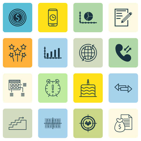 cosinus: Set Of 16 Universal Editable Icons. Can Be Used For Web, Mobile And App Design. Includes Icons Such As Cosinus Diagram, Business Goal, Celebration Cake And More.