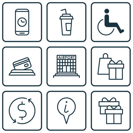infirm: Set Of Travel Icons On Accessibility, Info Pointer And Airport Construction Topics. Editable Vector Illustration. Includes Drink, Paper, Card And More Vector Icons.