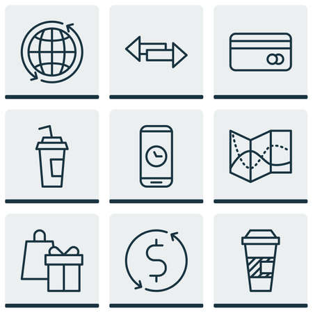 Set Of Airport Icons On Drink Cup, World And Plastic Card Topics. Editable Vector Illustration. Includes Dollar, Around, Map And More Vector Icons.