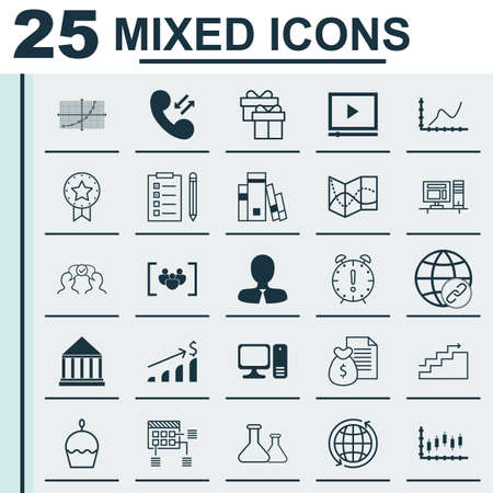 scientific literature: Set Of 25 Universal Editable Icons. Can Be Used For Web, Mobile And App Design. Includes Icons Such As Video Player, Road Map, Cooperation And More.