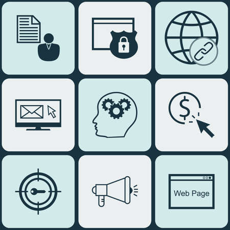 ppc: Set Of Advertising Icons On Security, PPC And Connectivity Topics. Editable Vector Illustration. Includes Keyword, Brain, Brief And More Vector Icons.