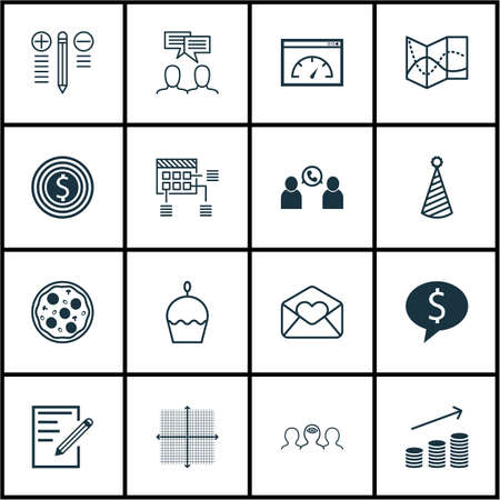 cake paper: Set Of 16 Universal Editable Icons. Can Be Used For Web, Mobile And App Design. Includes Icons Such As Birthday Cake, Paper, Greeting Email And More.