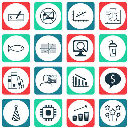debt collection: Set Of 16 Universal Editable Icons. Can Be Used For Web, Mobile And App Design. Includes Icons Such As Library, Drink Cup, Fail Graph And More.