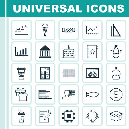 Set Of 25 Universal Editable Icons. Can Be Used For Web, Mobile And App Design. Includes Icons Such As Growth, Drink Cup, Paper And More.