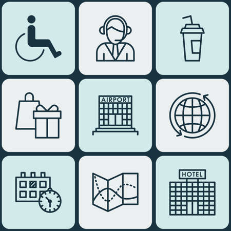 accessibility: Set Of Traveling Icons On Hotel Construction, Operator And Accessibility Topics. Editable Vector Illustration. Includes Operator, Center, Accessibility And More Vector Icons.