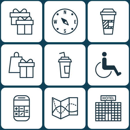 accessibility: Set Of Traveling Icons On Locate, Accessibility And Hotel Construction Topics. Editable Vector Illustration. Includes Road, Coffee, Shopping And More Vector Icons.