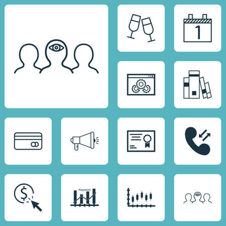 Set Of 12 Universal Editable Icons. Can Be Used For Web, Mobile And App Design. Includes Icons Such As Agenda, Media Campaign, Coaching And More.