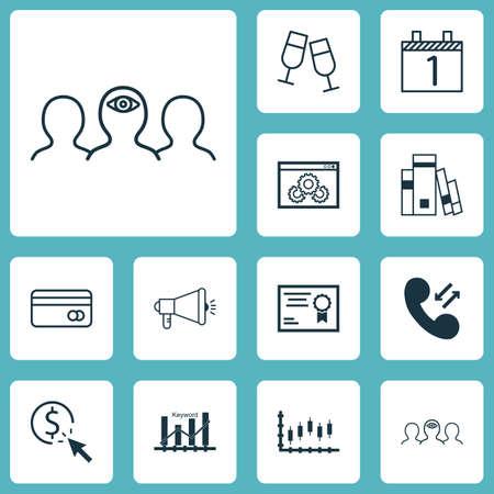 Ensemble de 12 icônes modifiables universelles. Peut être utilisé pour le Web, Mobile et App Design. Comprend des icônes telles que l'agenda, la campagne média, le coaching et bien plus encore.