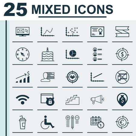 infirm: Set Of 25 Universal Editable Icons. Can Be Used For Web, Mobile And App Design. Includes Icons Such As Wireless, Achievement Graph, Currency Recycle And More.
