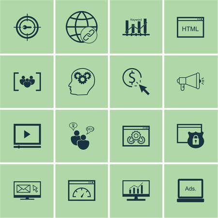 Ensemble d'icônes de SEO sur le marketing par mots clés, la sécurité et les sujets de performance du site Web. Illustration vectorielle modifiable Comprend le marketing, HTML, Web et plusieurs icônes vectorielles.